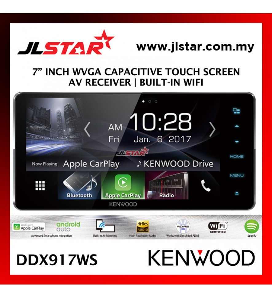 "KENWOOD DDX917WS 7"" INCH BUILT-IN-WIFI WVGA CAPACITIVE TOUCH SCREEN AV RECEIVER"