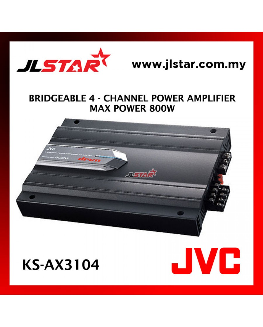 JVC KS-AX3104 DRVN SERIES BRIGEABLE 4 - CHANNEL POWER CAR AMPLIFIER MAX POWER 800W