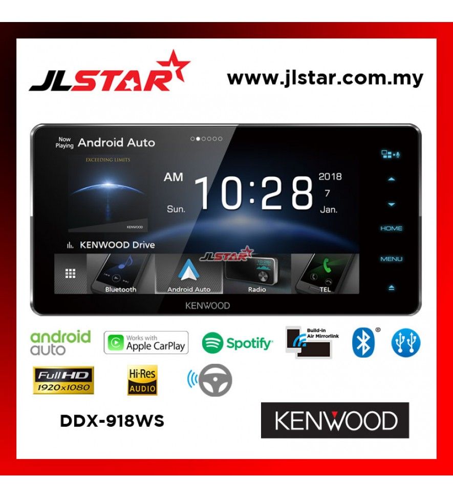 KENWOOD DDX918WS 6.8INCH HD CAPACITIVE TOUCH SCREEN AV RECEIVER / BUILT-IN WI-FI