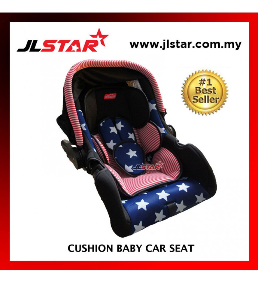 STRIPE BLUE STAR BABY CAR SEAT BABY CARRIER WITH ADJUSTABLE HANDLE AND CANOPY