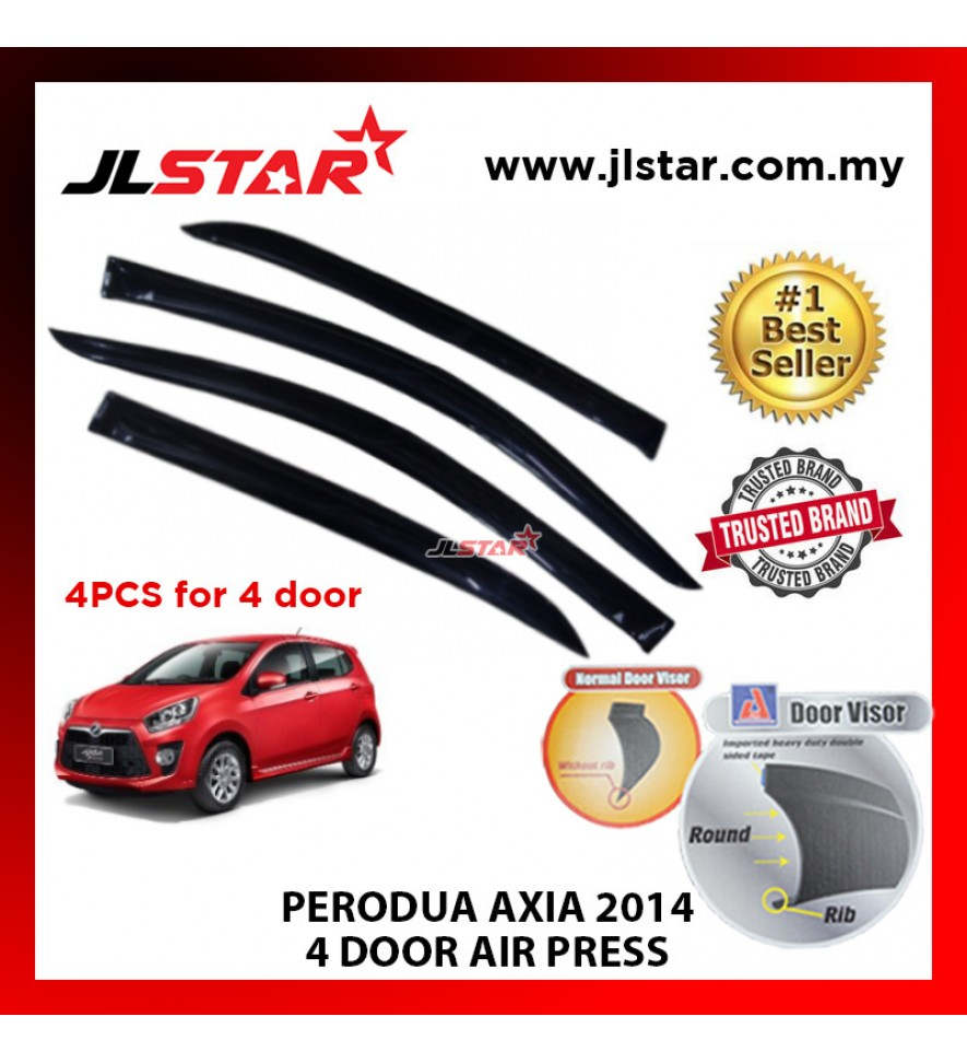 "PERODUA AXIA 2014 AIR PRESS CAR WINDOW DOOR VISOR WIND DEFLECTOR ANTI UV LIGHT 2.5"" (4PCS/SET)"