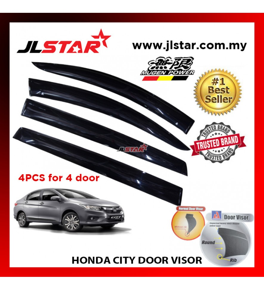 "HONDA CITY AIR PRESS CAR WINDOW DOOR VISOR WIND DEFLECTOR ANTI UV LIGHT 4.5"" (4PCS/SET)"