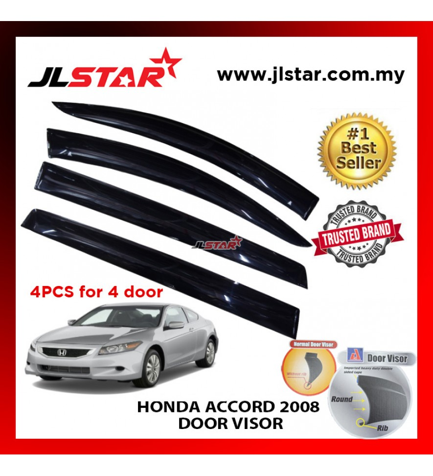 "HONDA ACCORD 2008 AIR PRESS CAR WINDOW DOOR VISOR WIND DEFLECTOR ANTI UV LIGHT 4.5"" (4PCS/SET)"