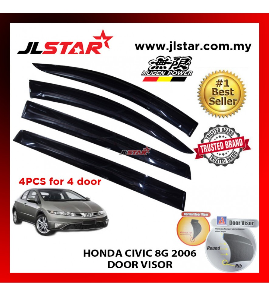 "HONDA CIVIC 8G 2006 AIR PRESS CAR WINDOW DOOR VISOR WIND DEFLECTOR ANTI UV LIGHT 4.5"" (4PCS/SET)"