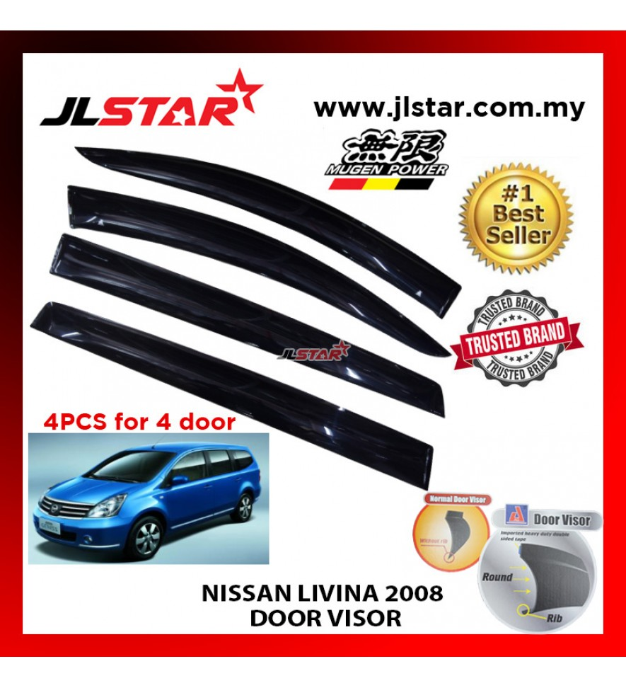 "NISSAN LIVINA 2008 AIR PRESS CAR WINDOW DOOR VISOR WIND DEFLECTOR ANTI UV LIGHT 4.5"" (4PCS/SET)"