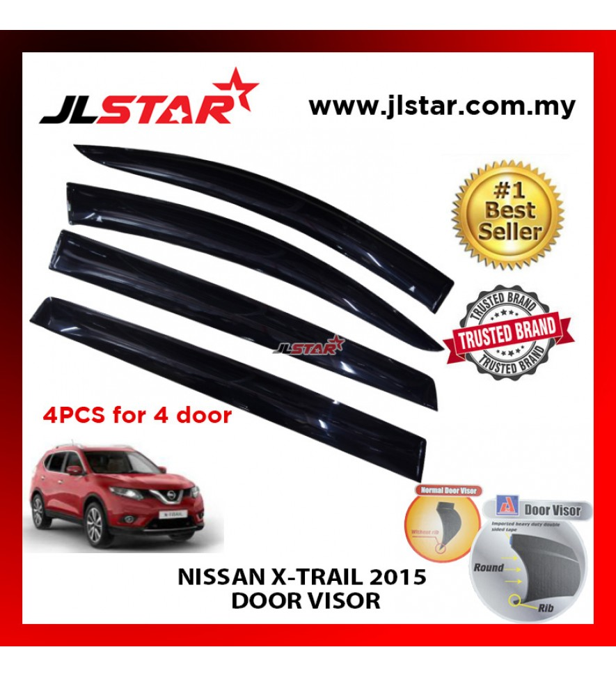 "NISSAN X-TRAIL 2015 AIR PRESS CAR WINDOW DOOR VISOR WIND DEFLECTOR ANTI UV LIGHT 4.5"" (4PCS/SET)"