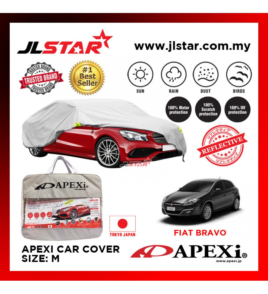 APEXI CAR COVER FIAT BRAVO UV PROTECTION SUNPROOF DUST-PROOF WATER RESISTANT PROTECTIVE ANTI SCRATCH SIZE M