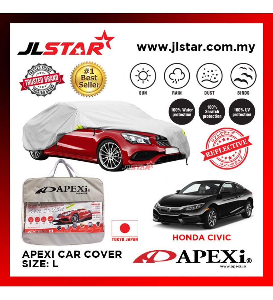 APEXI CAR COVER CIVIC UV PROTECTION SUNPROOF DUST-PROOF WATER RESISTANT PROTECTIVE ANTI SCRATCH SIZE L
