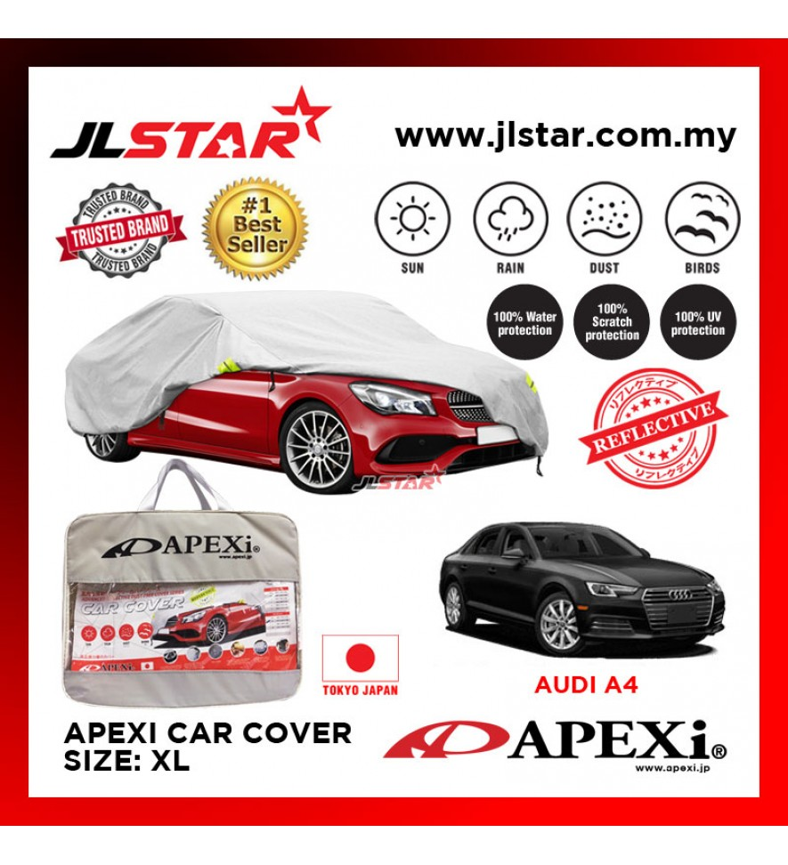 APEXI CAR COVER AUDI A4 UV PROTECTION SUNPROOF DUST-PROOF WATER RESISTANT PROTECTIVE ANTI SCRATCH SIZE XL