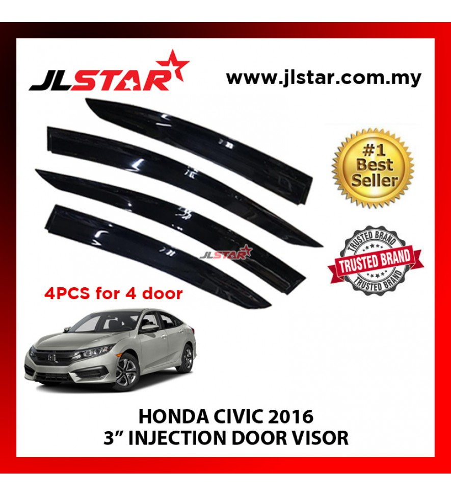 "HONDA CIVIC 2016 3"" INJECTION DOOR VISOR (4PCS/SET)"