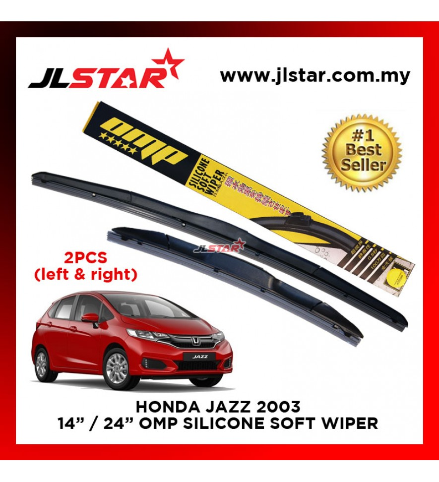 "HONDA JAZZ 2003 SILICONE SOFT WIPER 14""/24"" WIPER BLADE SET"