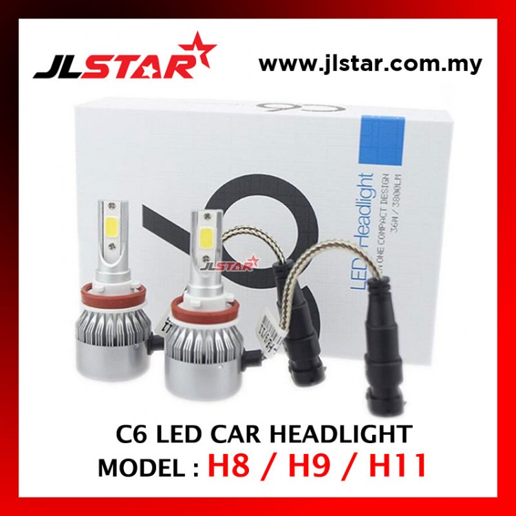 C6 - H8 / H9 / H11 LED LIGHT CAR HEADLIGHT HEADLAMP AUTO HEAD LIGHT LAMP - WHITE LIGHT 2PCS 1PAIR