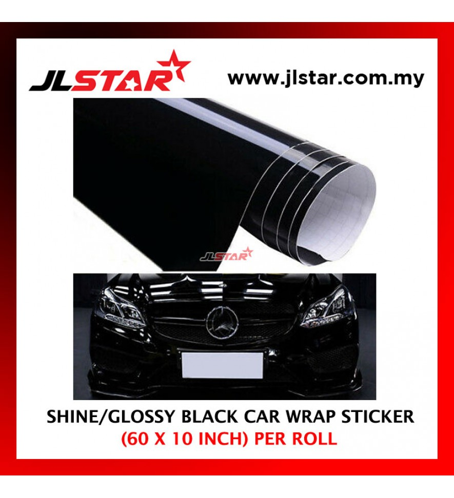 "60"" X 10"" INCH SHINY HIGH GLOSS GLOSSY CAR WRAP FILM DECAL AUTO SHEET SMOOTH STICKER COLOR BLACK"