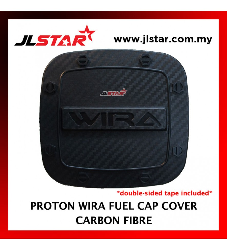FUEL TANK GAS TRIM CAP COVER COLOR CARBON FIBER FOR PROTON WIRA (DOUBLE SIDED TAPE INCLUDED)
