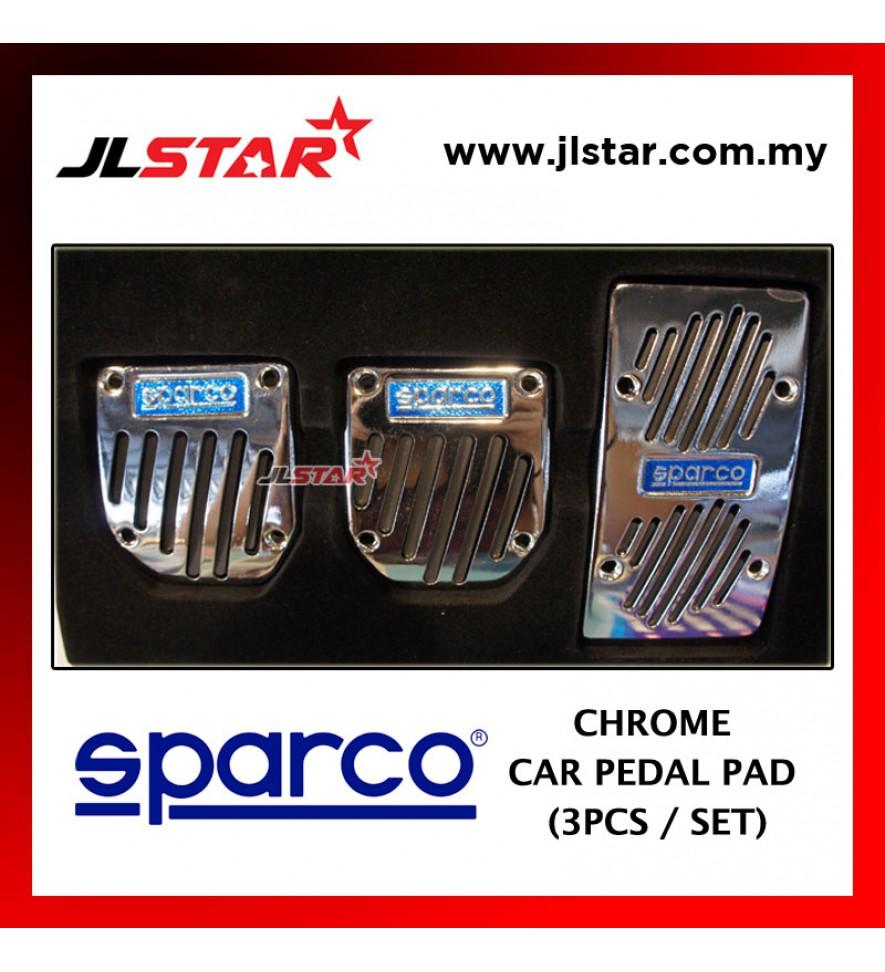 CAR AUTO PEDAL FOOT BRAKE PAD AUTOMOTIVE VEHICLE NON SLIP - SPARCO LOGO 3PCS / 1SET COLOR SILVER CHROME