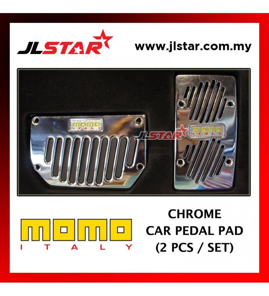 CAR AUTO PEDAL FOOT BRAKE PAD AUTOMOTIVE VEHICLE NON SLIP - MOMO LOGO 2PCS / 1SET COLOR SILVER CHROME