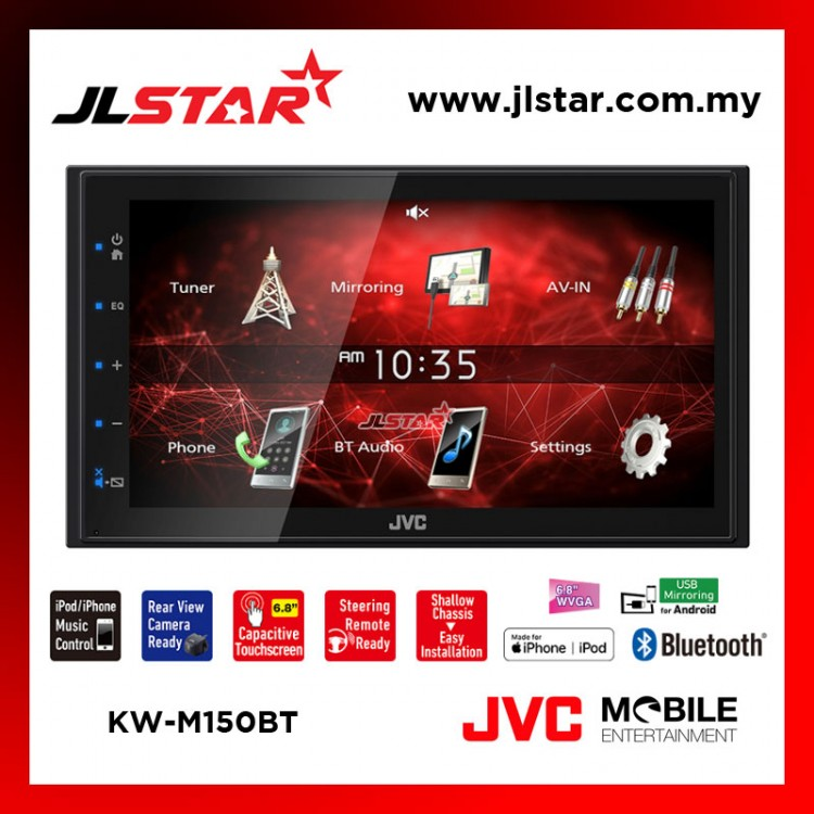 JVC KW-M150BT 2DIN AV RECEIVER DIGITAL MEDIA RECEIVER WITH 6.8 INCH CAPACITIVE MONITOR AND BUILT-IN BLUETOOTH