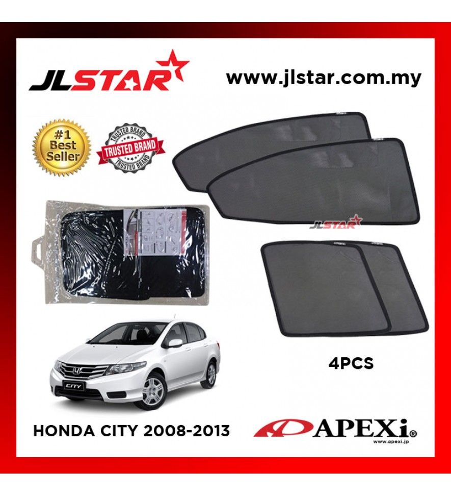APEXI HONDA CITY 2008-2013 CUSTOM FIT OEM SUNSHADES CAR CURTAIN 4 PCS