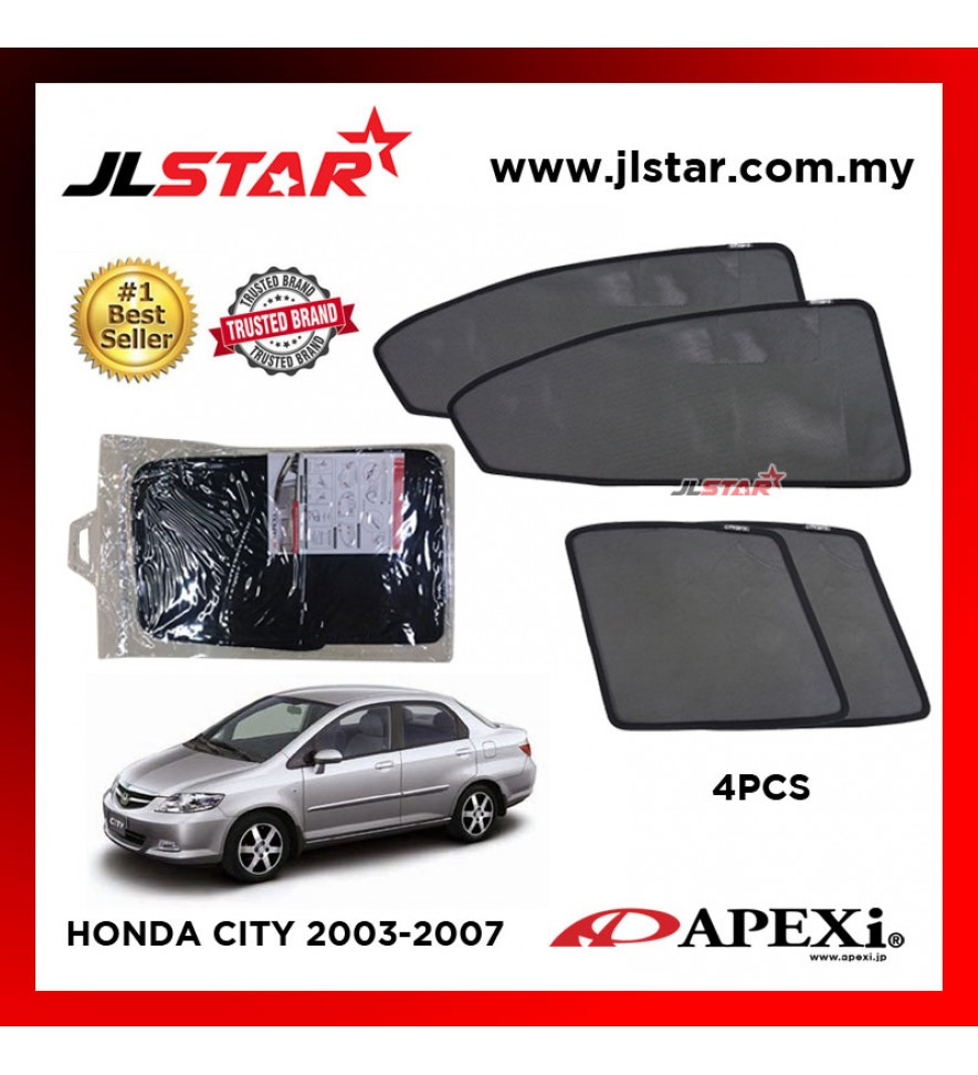 APEXI HONDA CITY 2003-2007 CUSTOM FIT OEM SUNSHADES CAR CURTAIN 4 PCS