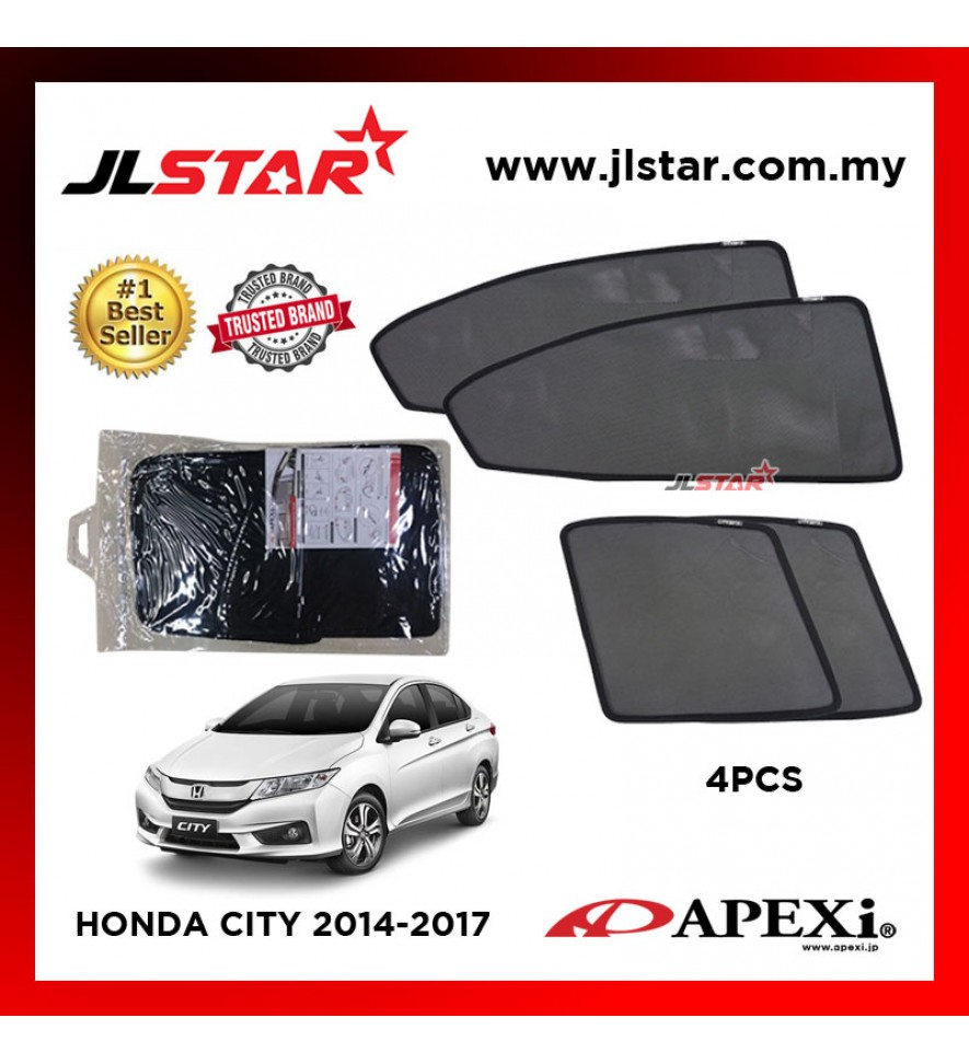 APEXI HONDA CITY 2014-2017 CUSTOM FIT OEM SUNSHADES CAR CURTAIN 4 PCS