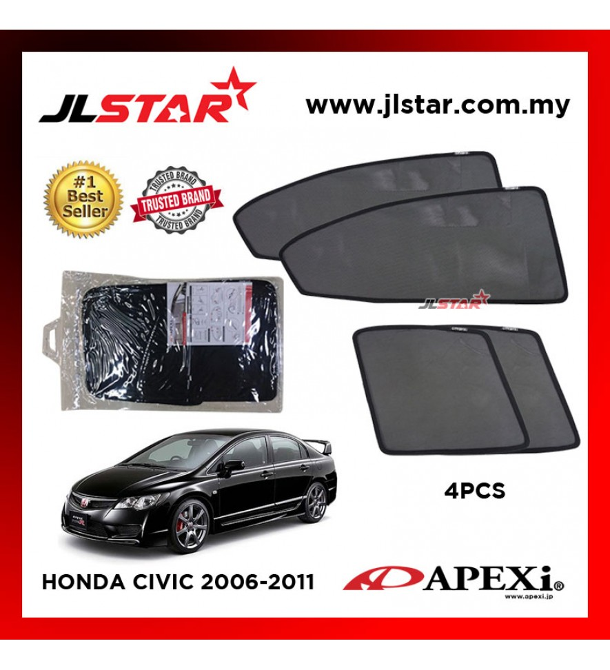 APEXI HONDA CIVIC 2006-2011 CUSTOM FIT OEM SUNSHADES CAR CURTAIN 4 PCS