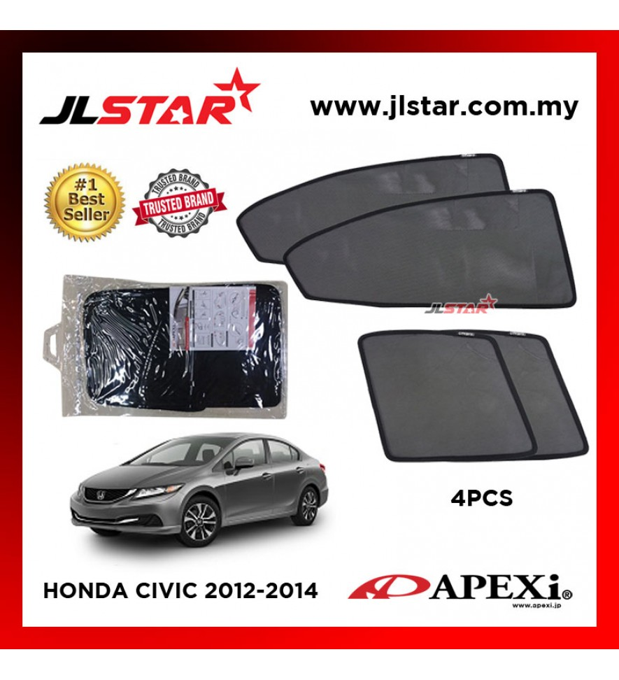 APEXI HONDA CIVIC 2012-2014 CUSTOM FIT OEM SUNSHADES CAR CURTAIN 4 PCS