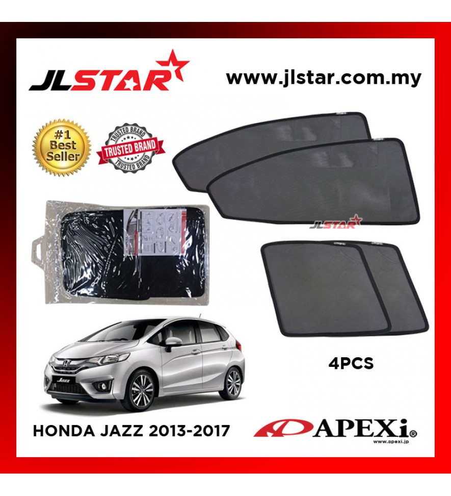 APEXI HONDA JAZZ 2013-2017 CUSTOM FIT OEM SUNSHADES CAR CURTAIN 4 PCS