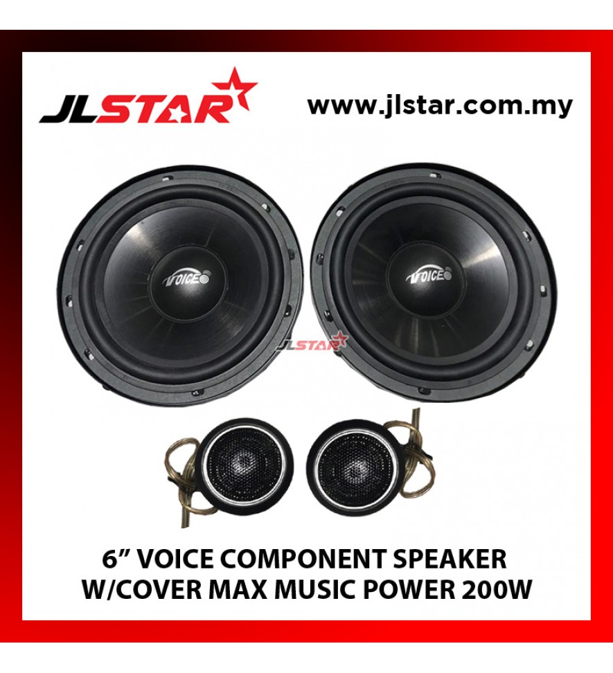 "6"" VOICE COMPONENT SPEAKER W/COVER MAX MUSIC POWER 200W"