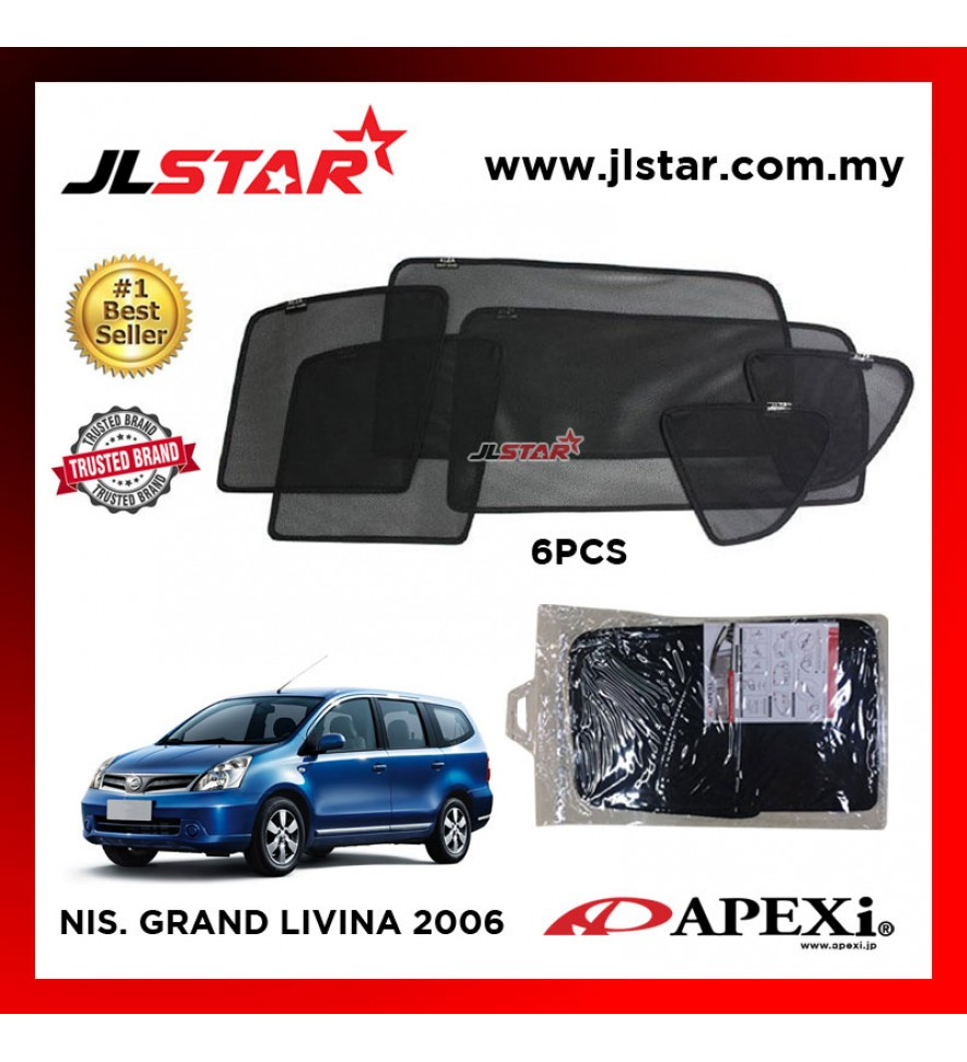 APEXI NISSAN GRAND LIVINA 2006 CUSTOM FIT OEM SUNSHADES CAR CURTAIN 6 PCS