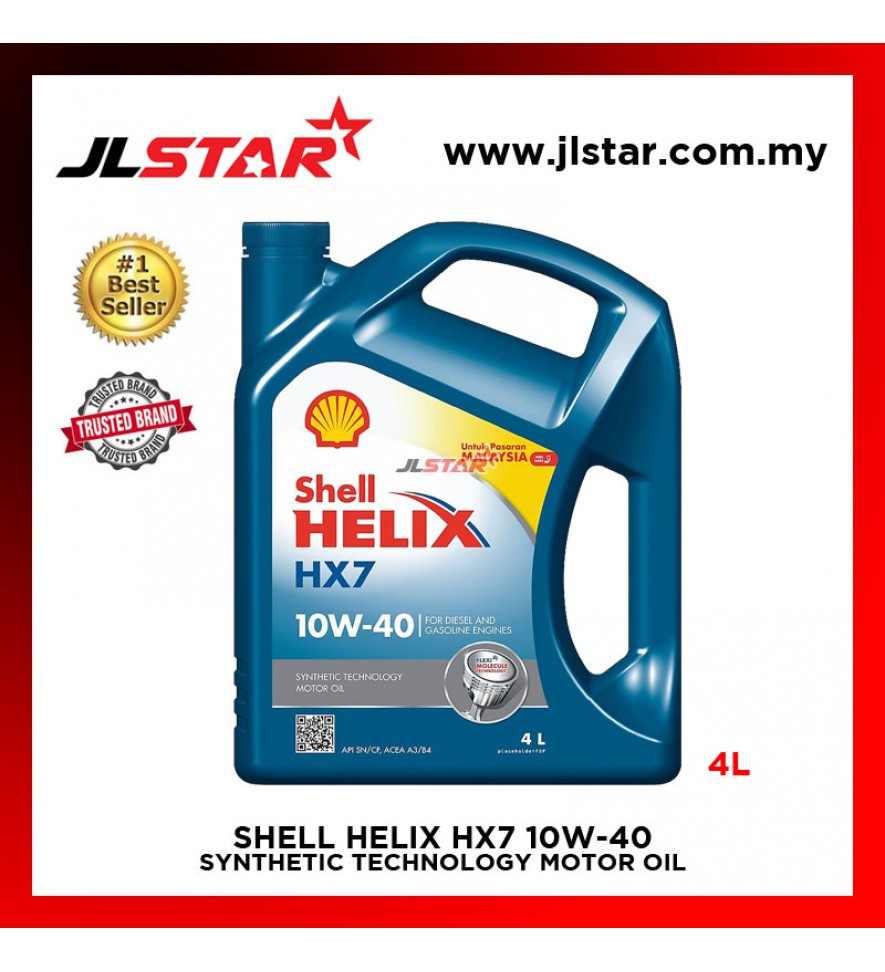 SHELL HELIX HX7 10W-40 SYNTHETIC TECHNOLOGY MOTOR OIL ENGINE OIL 4L