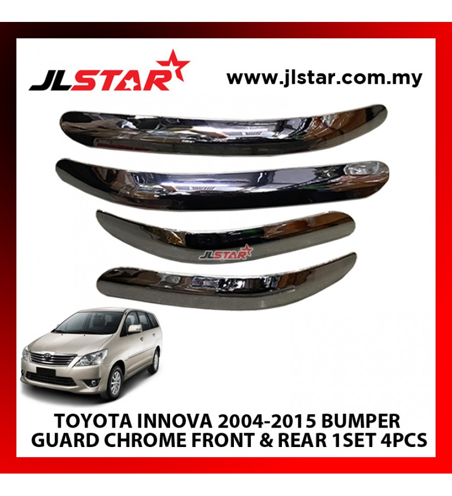 TOYOTA INNOVA FIRST GENERATION (2004-2015) CUSTOM FIT FRONT AND REAR BACK SIDE BUMPER CHROME GARNISH GUARD SCRATCH PROTECTOR- SET OF 4 PIECES