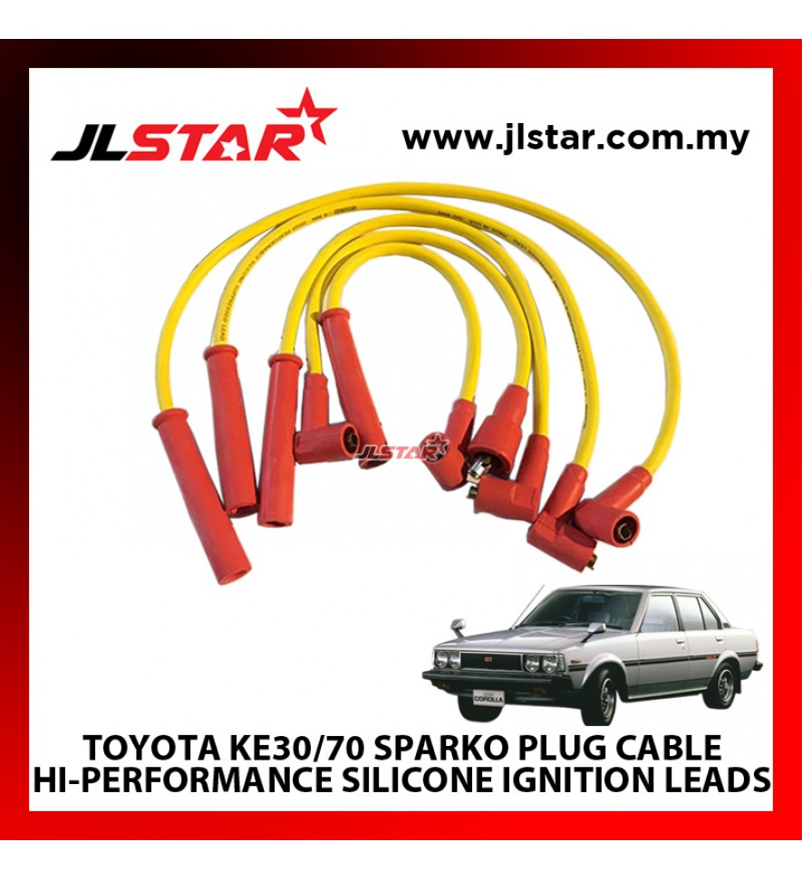 TOYOTA KE 30/70 SPARKO PLUG CABLE HI-PERFORMANCE SILICONE IGNITION LEADS SUPPRESSED 8mm DIAMETER