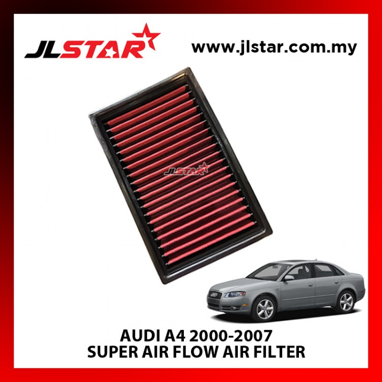 AUDI A4 2000-2007 SUPER AIR FLOW AIR FILTER REUSABLE LAST FROM 50,000 KM - 100,000 KM
