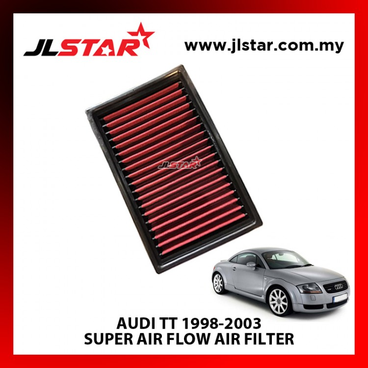 AUDI TT 1998-2003 SUPER AIR FLOW AIR FILTER REUSABLE LAST FROM 50,000 KM - 100,000 KM