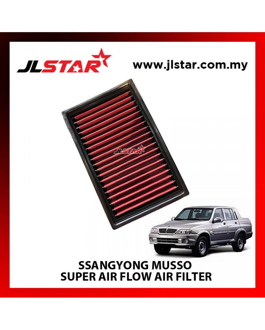 SSANGYONG MUSSO SUPER AIR FLOW AIR FILTER REUSABLE LAST FROM 50,000 KM - 100,000 KM