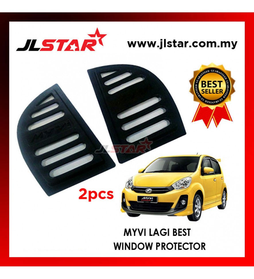 TRIANGLE MIRROR COVER PERODUA MYVI LAGI BEST BLACK REAR SIDE WINDOW PROTECTOR