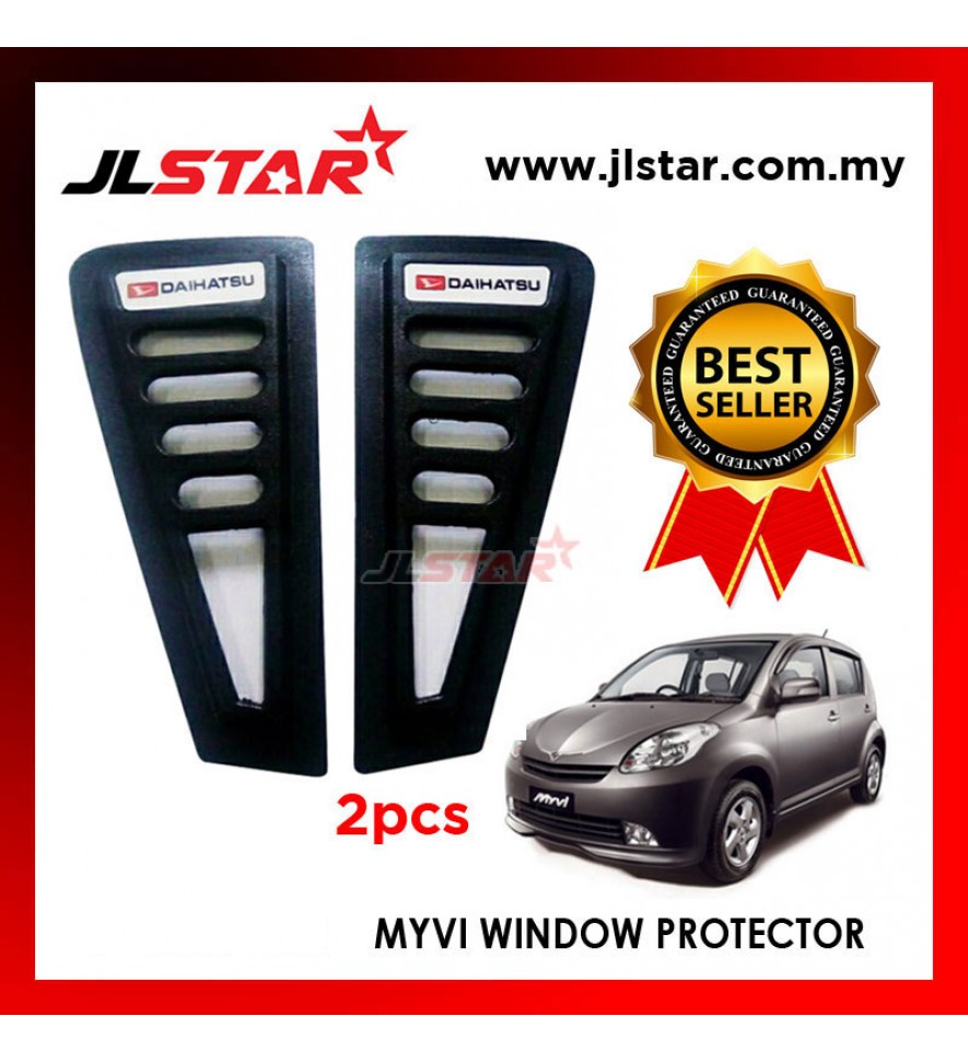 TRIANGLE MIRROR COVER PERODUA MYVI 2006 BLACK REAR SIDE WINDOW PROTECTOR