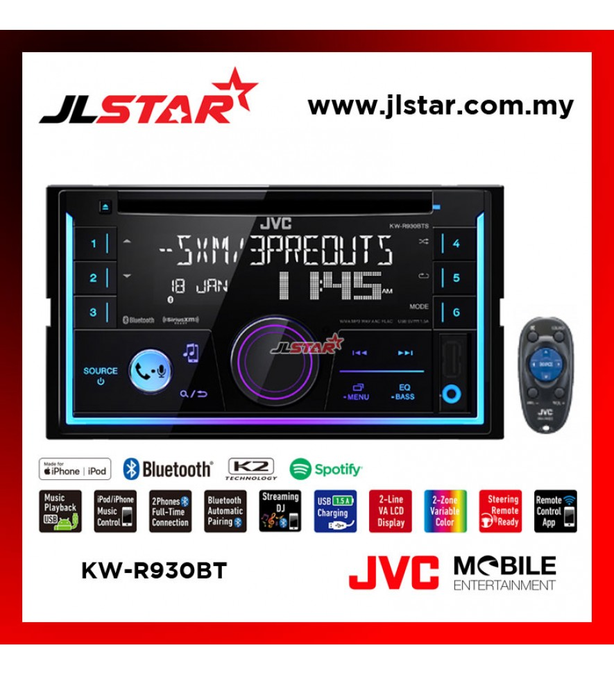 JVC KW-R930BT CD RECEIVER WITH BLUETOOTH