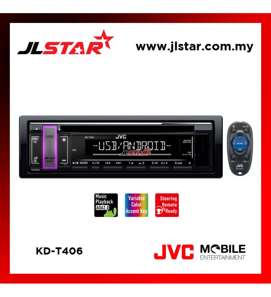 JVC KD-T406 CD RECEIVER WITH USB/AUX
