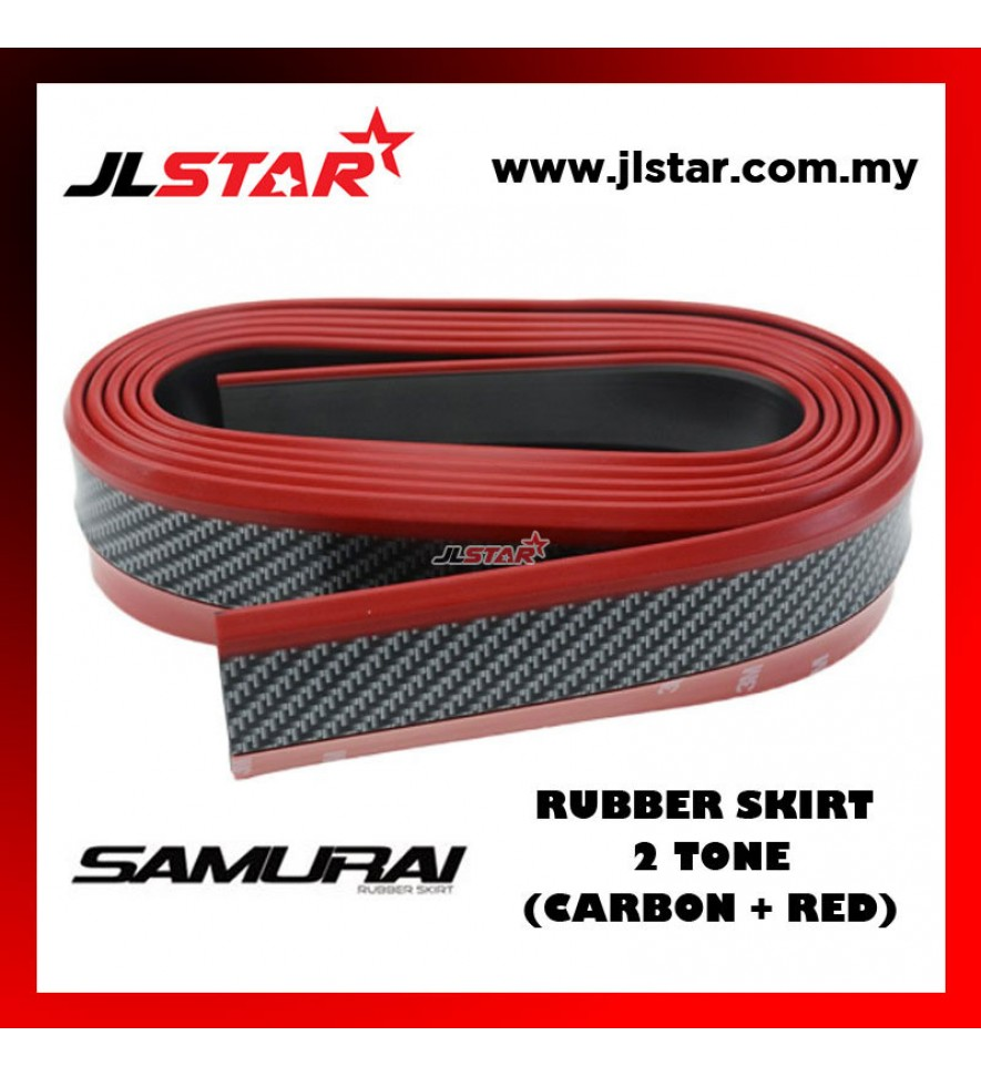 SAMURAI RUBBER SKIRT CAR FRONT LIP BUMPER RUBBER STRIP CARBON + RED LINE