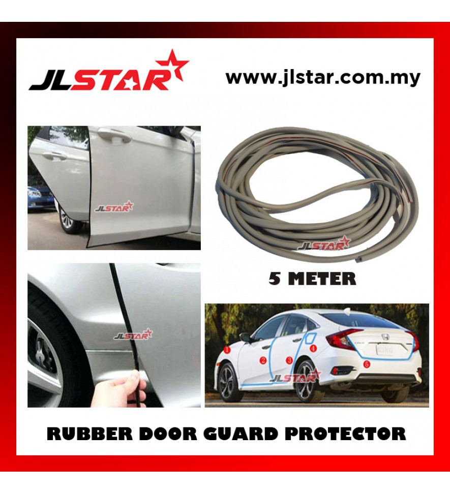 5 METERS UNIVERSAL CAR DOOR EDGE GUARD SCRATCH STRIP PROTECTOR RUBBER SEALING TRIM MOLDING CAR STYLE - GREY