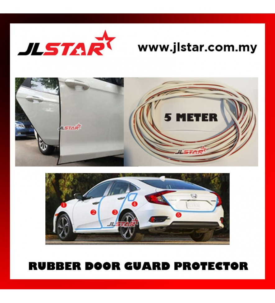 5 METERS UNIVERSAL CAR DOOR EDGE GUARD SCRATCH STRIP PROTECTOR RUBBER SEALING TRIM MOLDING CAR STYLE - WHITE
