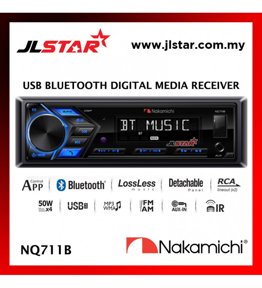 NAKAMICHI NQ711B 1 DIN MECHLESS NON CD BLUETOOTH USB AUX RADIO CAR STEREO PLAYER