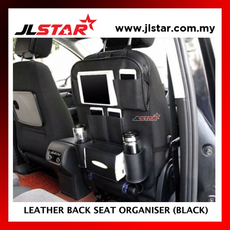 CAR LEATHER BACK SEAT ORGANISER WITH FOLDABLE TABLE MULTI POCKET HANGING STORAGE BAG AUTO TRAVEL HOLDER - BLACK