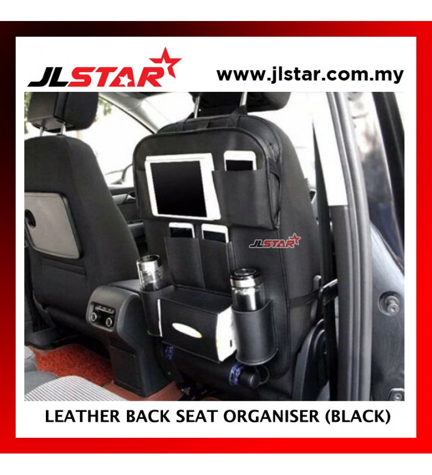 CAR LEATHER BACK SEAT ORGANISER WITH FOLDABLE TABLE MULTI POCKET HANGING STORAGE BAG AUTO TRAVEL HOLDER - BLACK