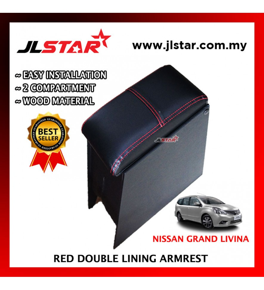 NISSAN GRAND LIVINA '08 CUSTOM FIT PVC ARMREST WITH RED LINE