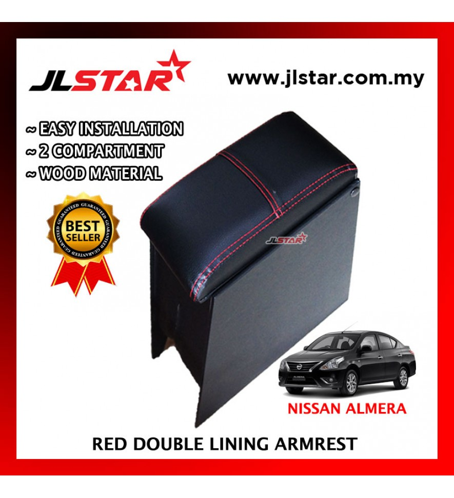 NISSAN ALMERA '12 CUSTOM FIT PVC ARMREST WITH RED LINE