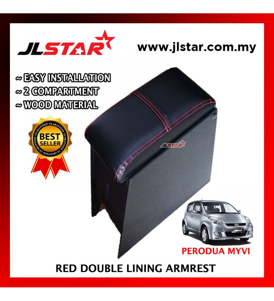PERODUA MYVI CUSTOM FIT PVC ARMREST WITH RED LINE