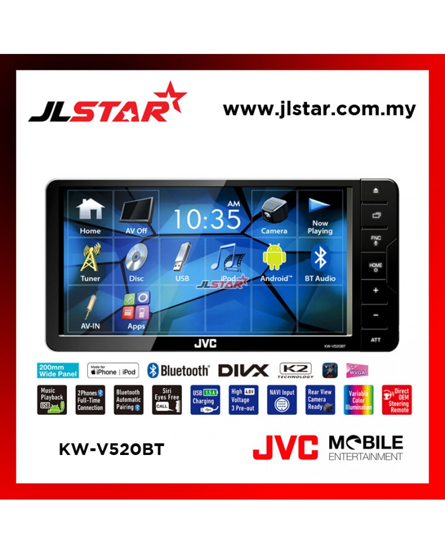JVC KW-V520BT DVD/CD/USB RECEIVER WITH 7-INCH WVGA (CLEAR-COATED) TOUCH PANEL MONITOR