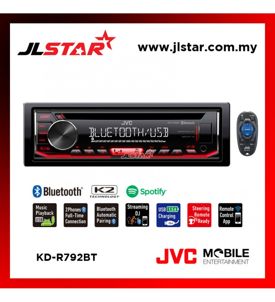 JVC KD-R792BT CD RECEIVER WITH BLUETOOTH